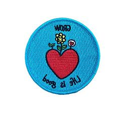 "Grow Life is Good Patch Embroidered Sew On/Iron on 3"" - Pers"