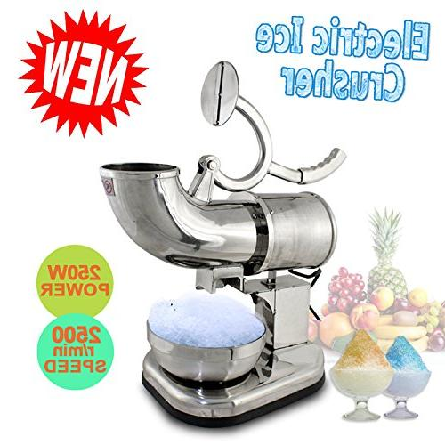 F2C Commercial Kitchen Electric Ice Shaver Machine Ice Snow Cone Machine Shaving 440 Silver