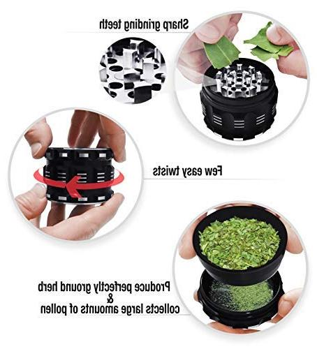 Herb Grinder By Kozo Large 4 Piece, Black Aluminium