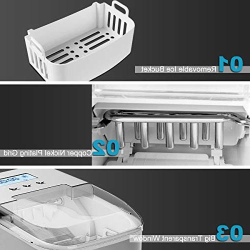 Costway Operation Control Panel Steel Compact Ice High Efficiency Makes lbs of per 24 Scoop
